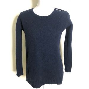 AllSaints Shetland Wool Panel Crewneck Sweater